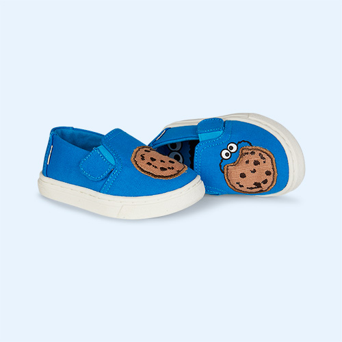 Blue TOMS Sesame Street Cookie Monster Luca Slip Ons