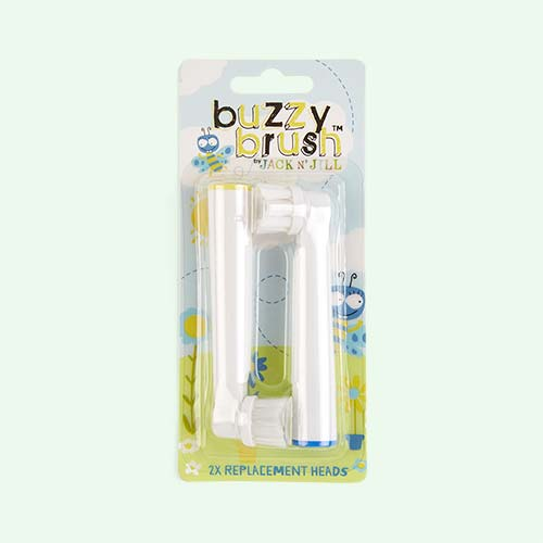 White JACK N' JILL Buzzy Brush Replacement Heads - 2pk