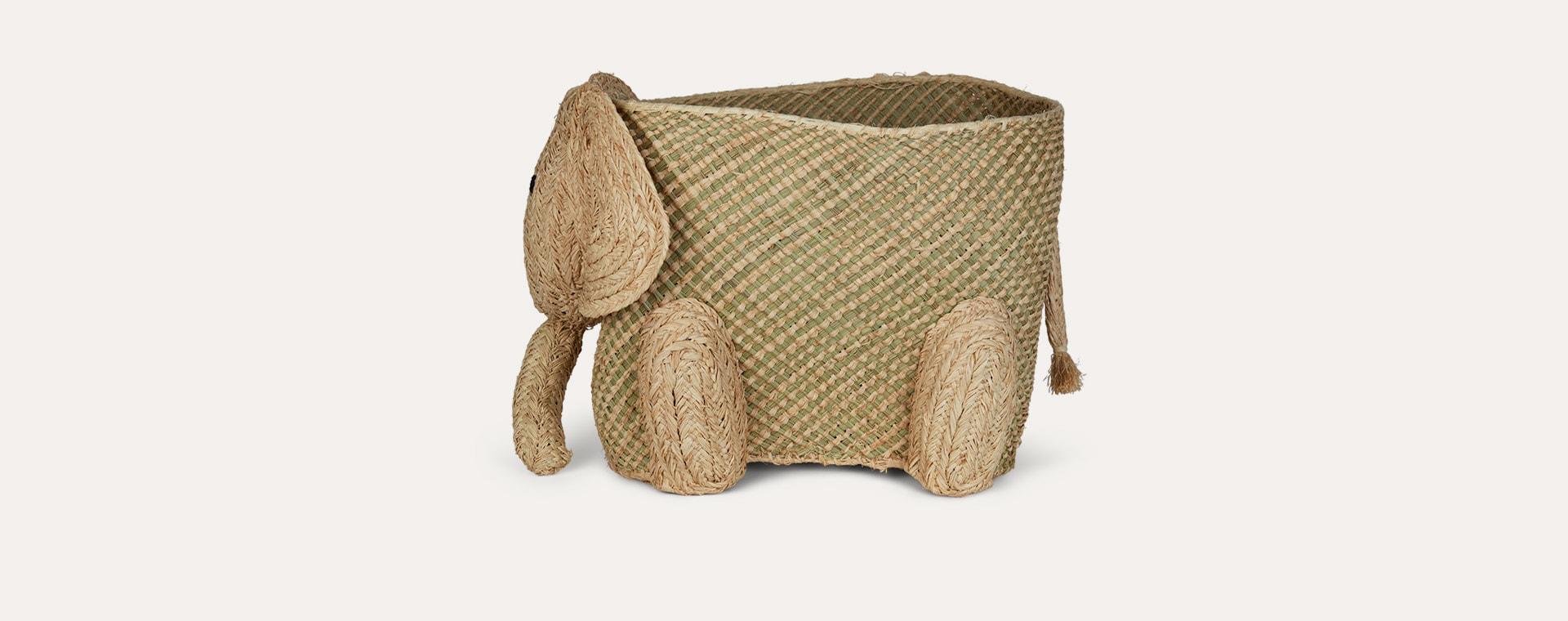 Neutral Rice Elephant Storage Basket