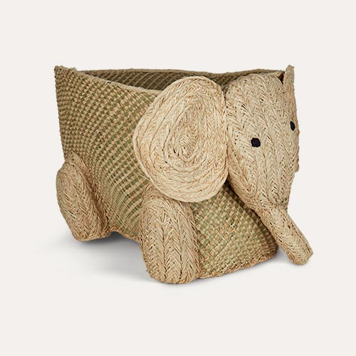 Neutral Rice Elephant Storage Basket