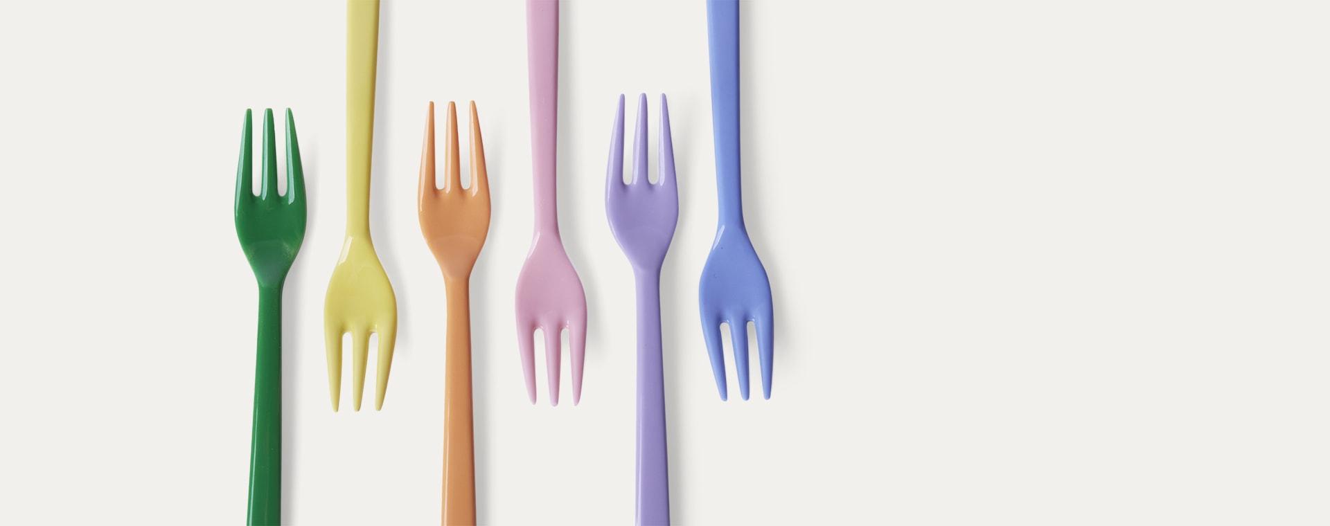 Summer Pastels Forks Rice Melamine Cutlery 6 Pack