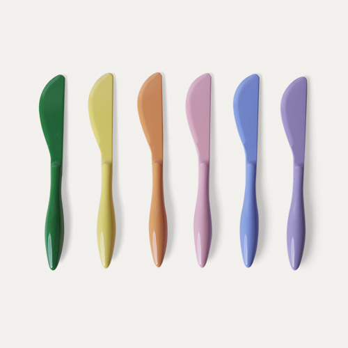 Summer Pastels Knives Rice Melamine Cutlery 6 Pack