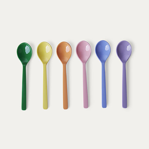 Summer Pastels Spoons Rice Melamine Cutlery 6 Pack