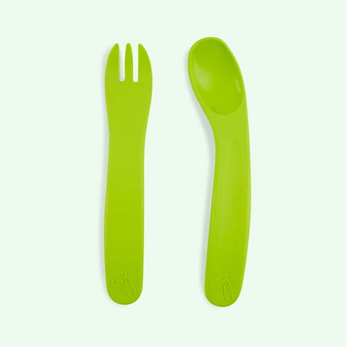 Green jj rabbit Ergo Fork & Spoon Set