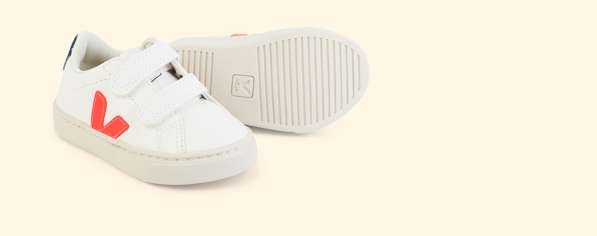 Orange Fluo Cobalt Veja Esplar Small Velcro Trainer