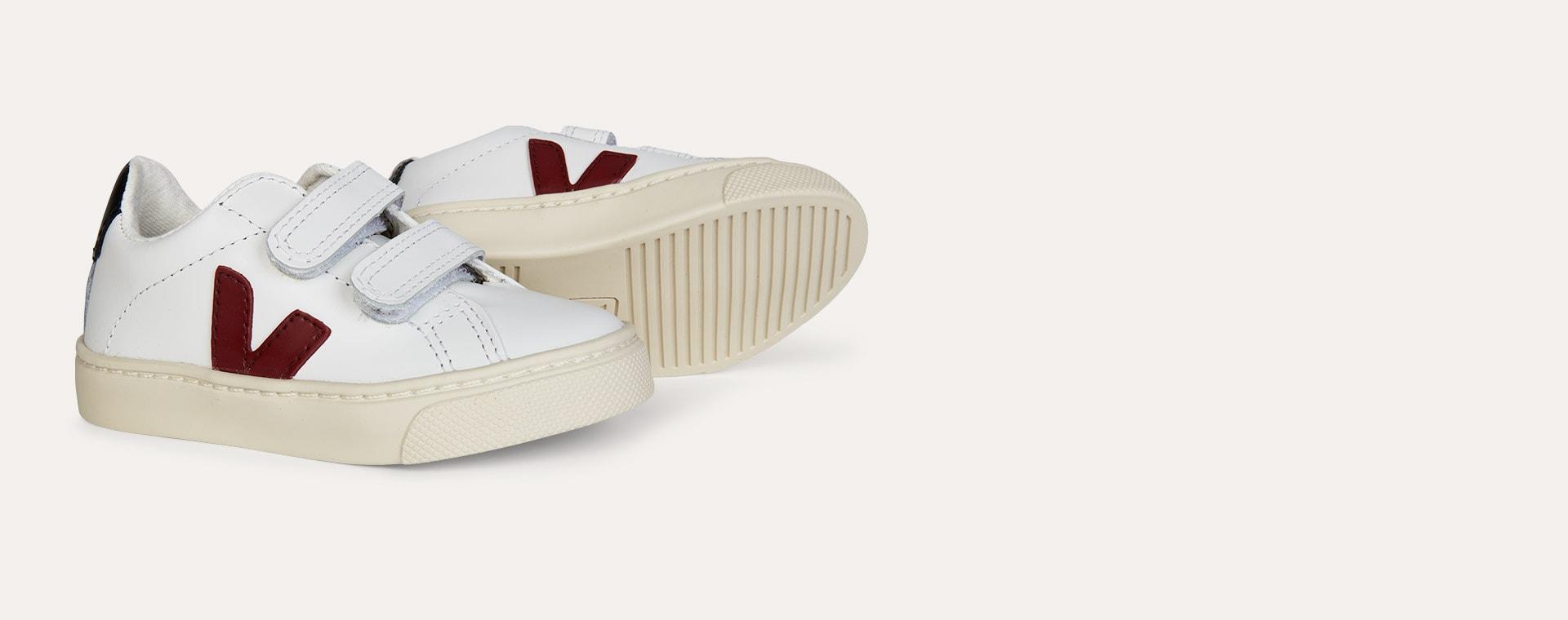 Extra White Marsala Black Veja Esplar Small Velcro Trainer