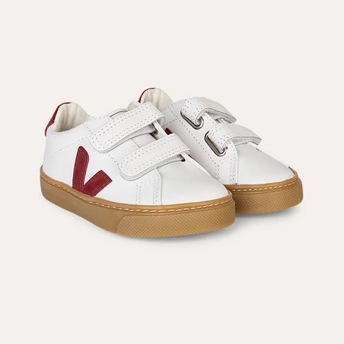 Marsala Natural Sole Veja Esplar Small Velcro Trainer