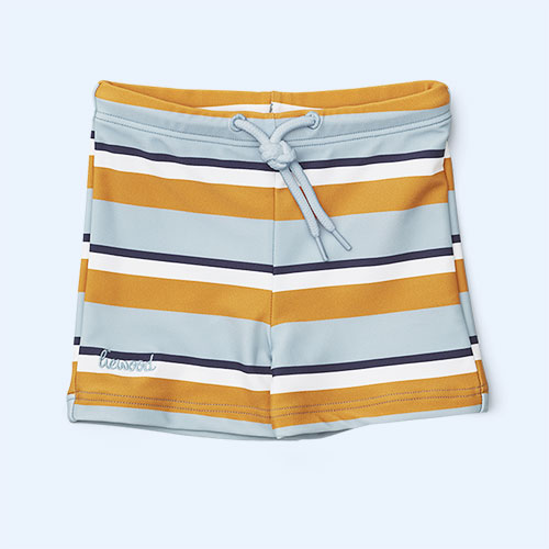 Stripe Blue Mustard Cream Liewood Otto Swim Pants
