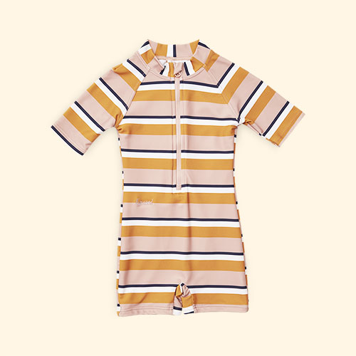 Rose Mustard Cream Stripe Liewood Max Swim Jumpsuit