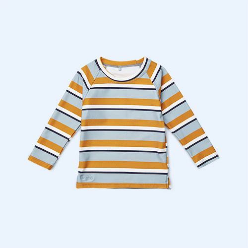 Stripe Blue Mustard Cream Liewood Noah Swim Tee