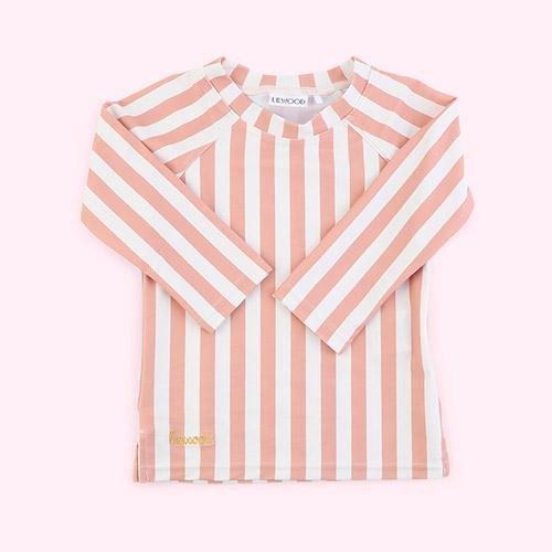 Stripe: Coral blush/creme de la creme Liewood Noah Swim Tee
