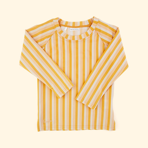 Stripe: Peach/sandy/yellow mellow Liewood Noah Swim Tee
