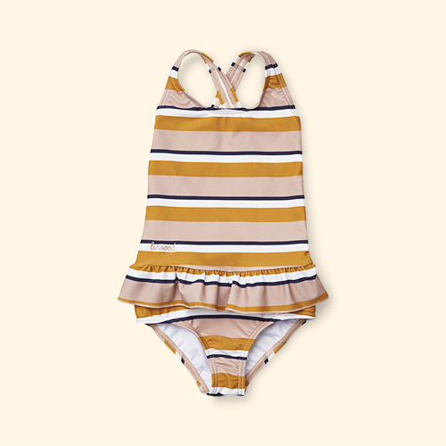 Rose Mustard Cream Stripe Liewood Amara Swimsuit