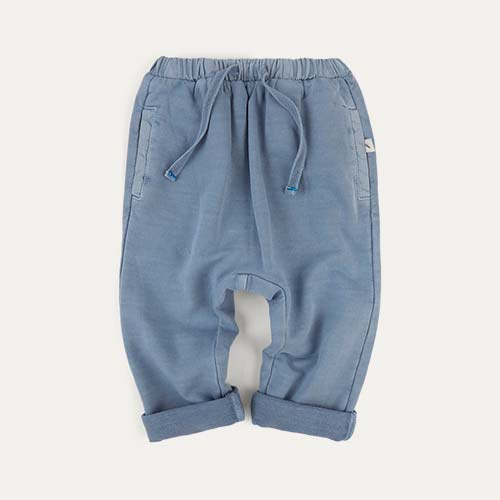 Steel Blue KIDLY Label Washed Jogger