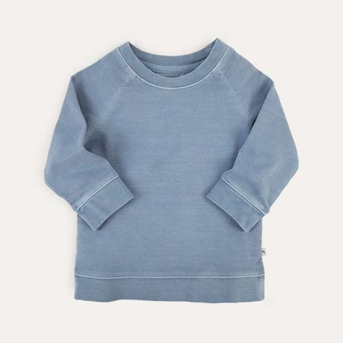 Steel Blue KIDLY Label Washed Sweatshirt