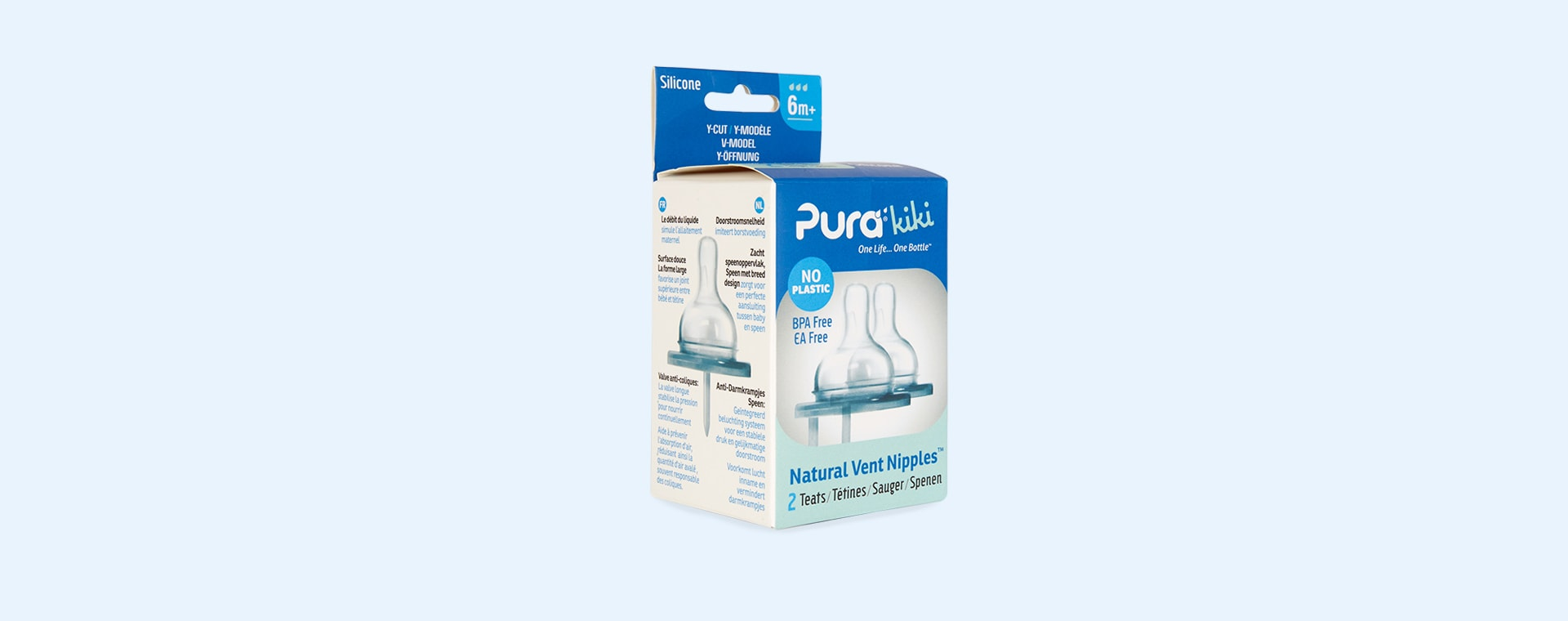 Clear Pura Wide Neck Natural Vent Silicone Nipple Y Cut - 2 Pack