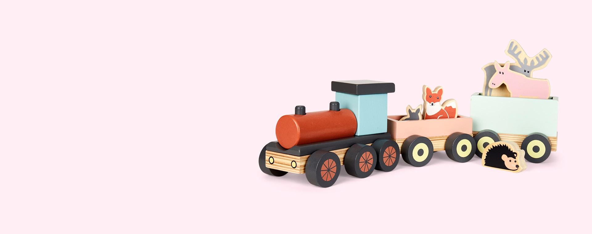 Multi Kid's Concept Animal Wood Train Edvin
