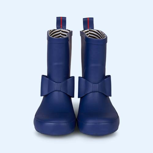 Marine Blue Boxbo Bowtie High Welly Boot