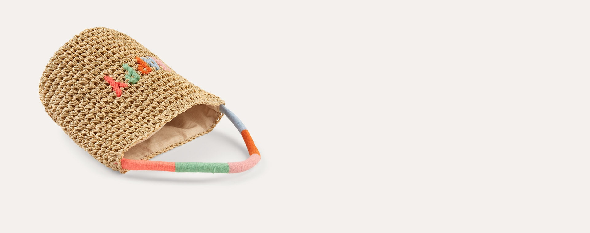 Neutral Meri Meri Happy Woven Straw Bag