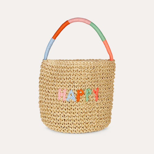 Neutral Meri Meri Happy Woven Straw Bag