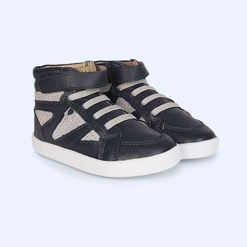 Navy Grey old soles New Leader High Top Trainer