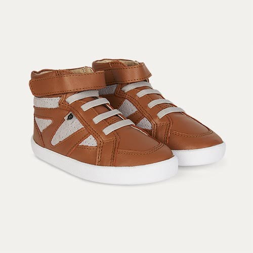 Tan Grey old soles New Leader High Top Trainer