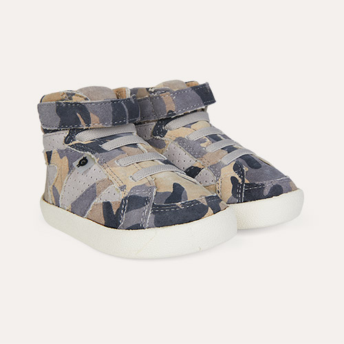 Grey Camo/Grey Suede old soles New Leader High Top Trainer