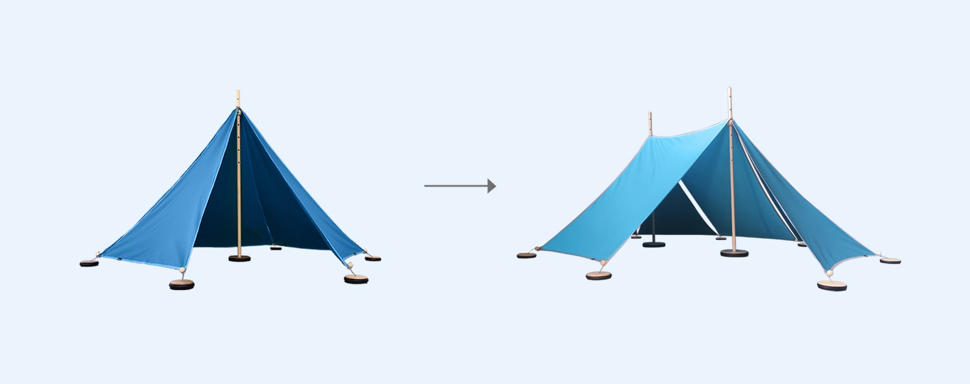 Turquoise abel Tent Extension Kit 1-2 with Pegs and Weights