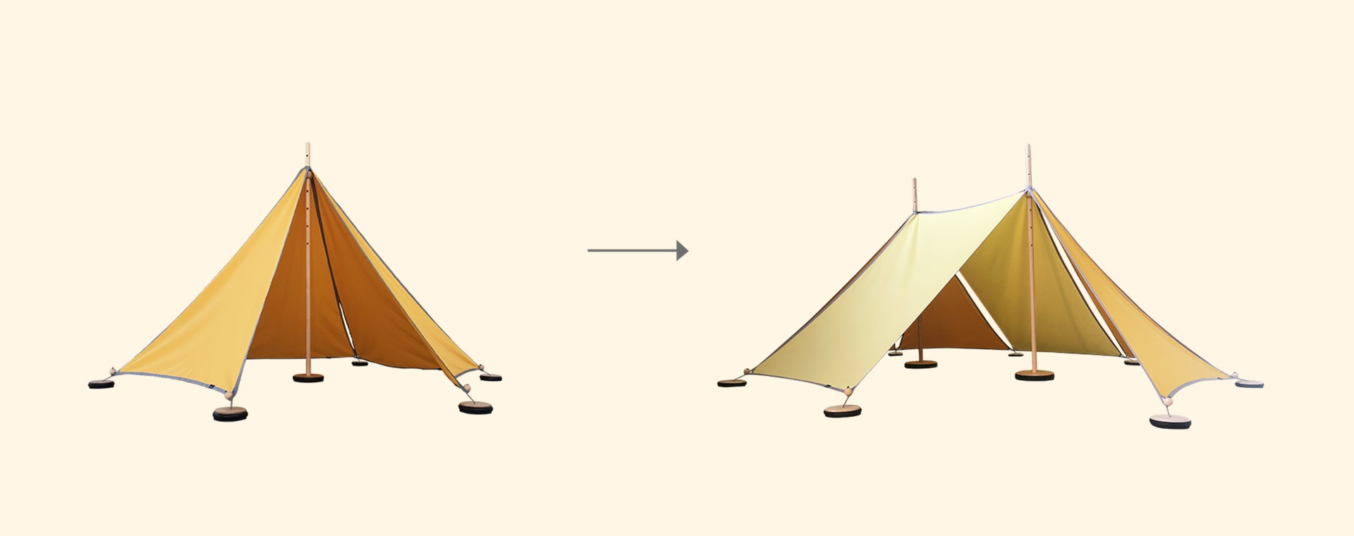 Yellow abel Tent Extension Kit 1-2 with Pegs and Weights