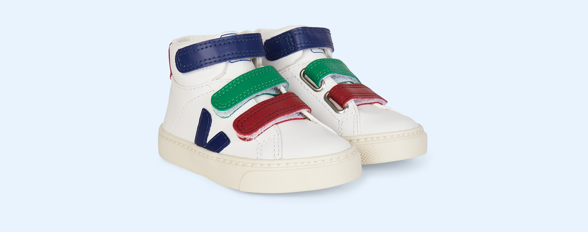 White Blue Veja Esplar Mid Small Velcro Trainer