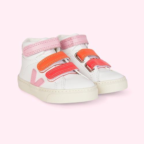 White Pink Veja Esplar Mid Small Velcro Trainer