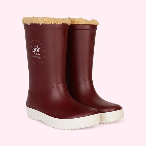 Burgundy igor Splash Nautico Lined Wellies