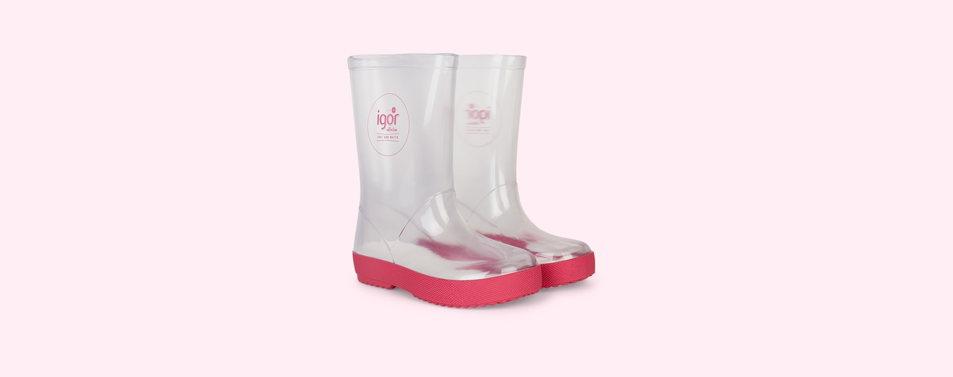 Fuschia igor Splash Crystal Transparent Wellies & Socks