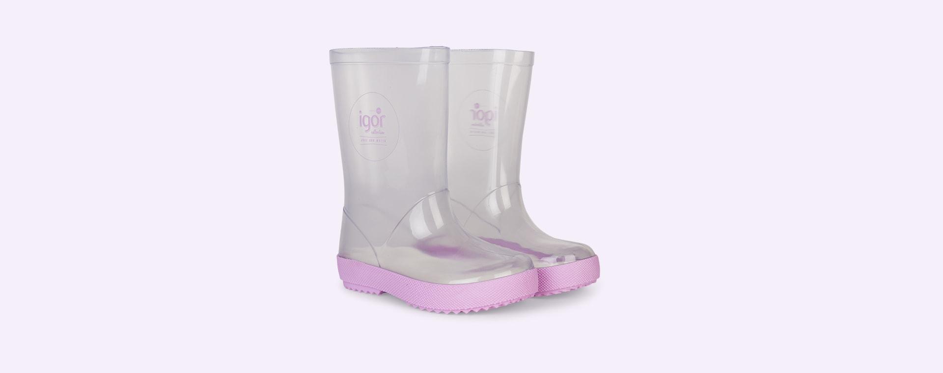Mauve igor Splash Crystal Transparent Wellies & Socks