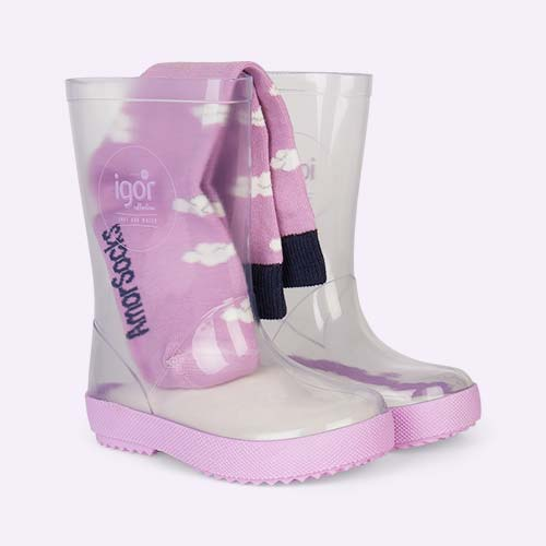 Mauve igor Splash Crystal Transparent Wellies & Socks