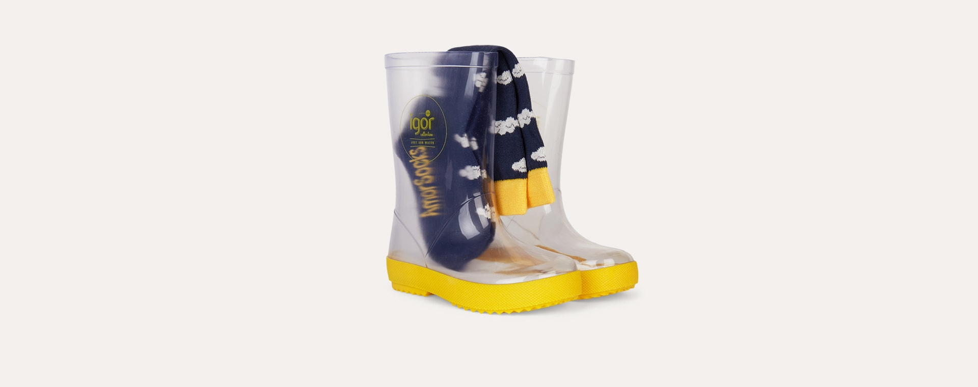Yellow igor Splash Crystal Transparent Wellies & Socks