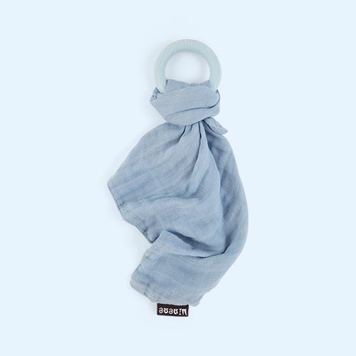 Blue Minene Bamboo Muslin with Silicone Teething Ring