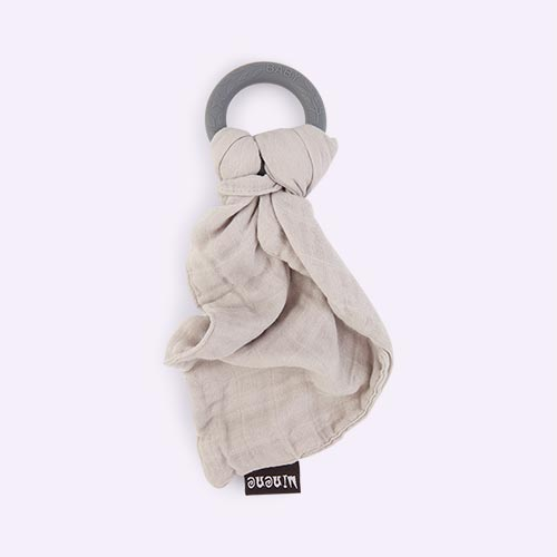 Grey Minene Bamboo Muslin with Silicone Teething Ring