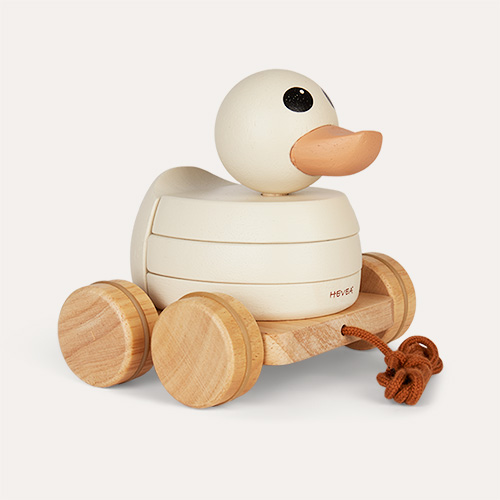 Cream Hevea Kawan Rubberwood Stacker & Pull Toy