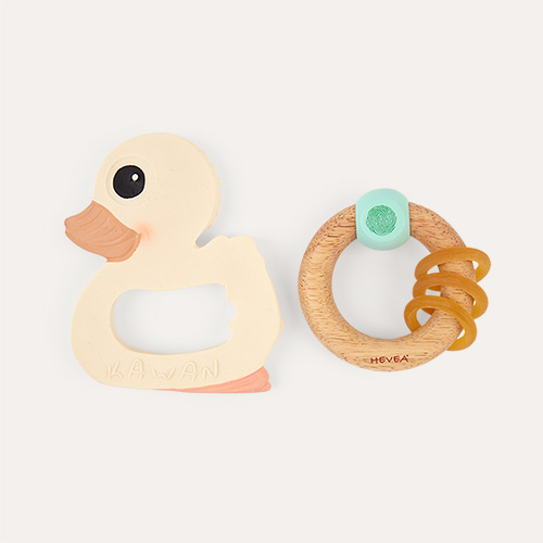 Neutral Hevea Kawan Teether & Rubberwood Rattle