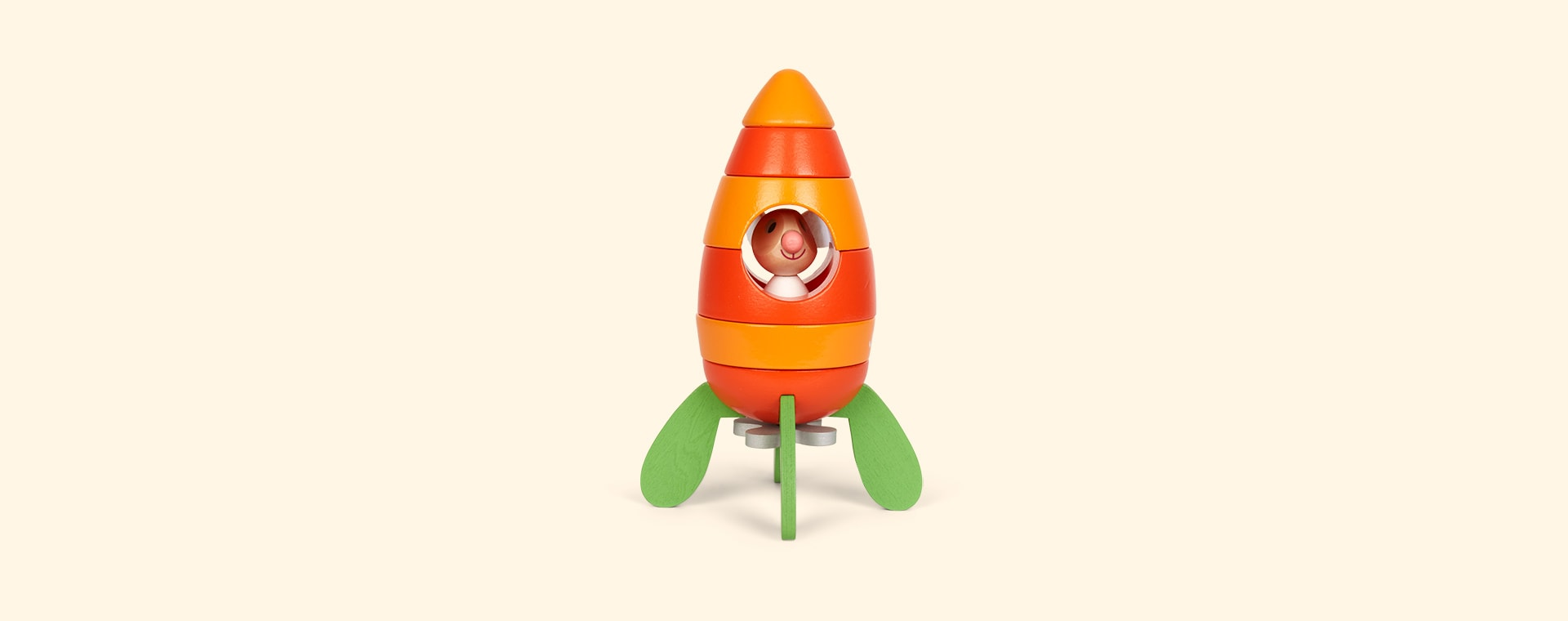 Orange Janod Magnetic Carrot Rocket