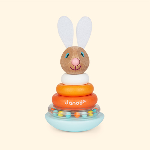 Orange Janod Janod Lapin Stackable Roly-Poly Rabbit,