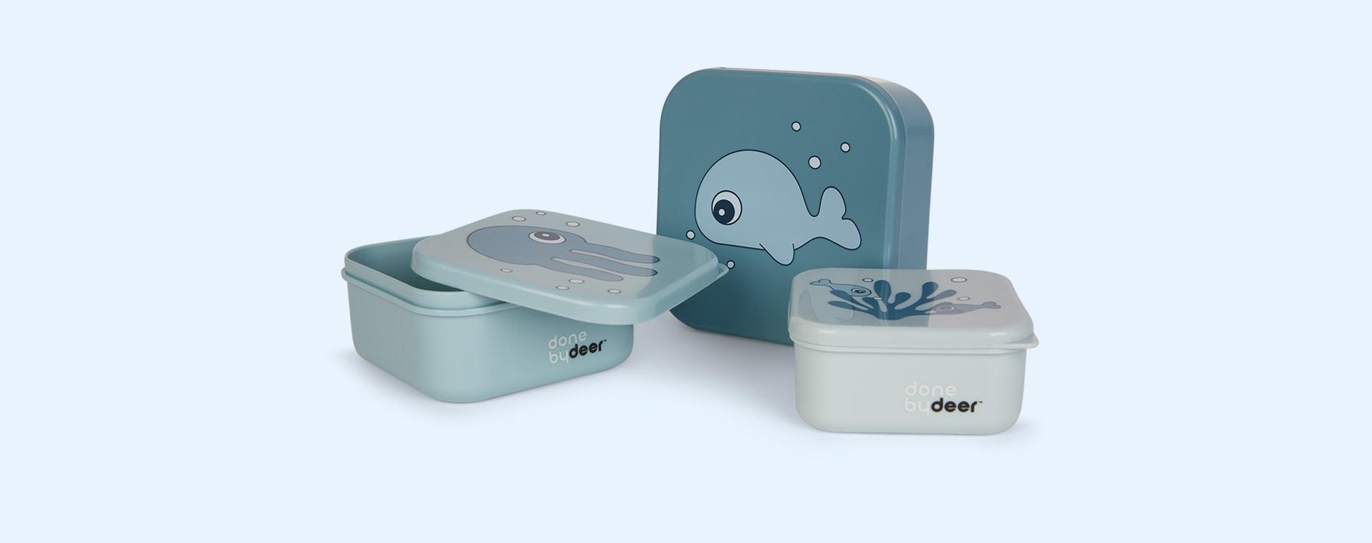 Sea Friends Blue Done By Deer 3-Pack Snack Box Set