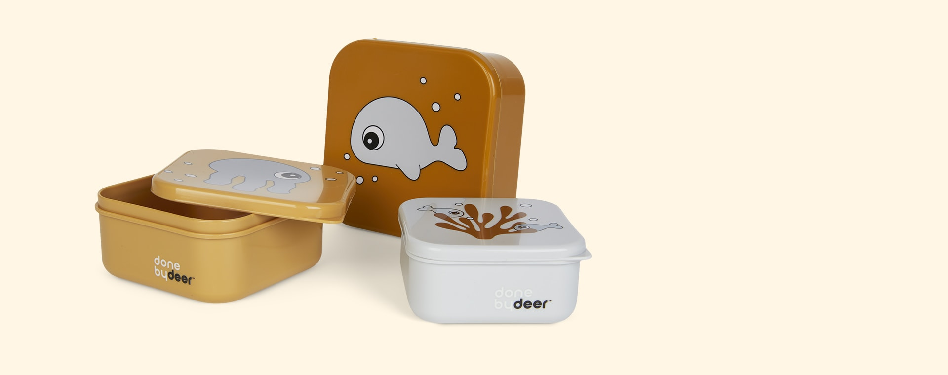 Sea Friends Mustard Done By Deer 3-Pack Snack Box Set