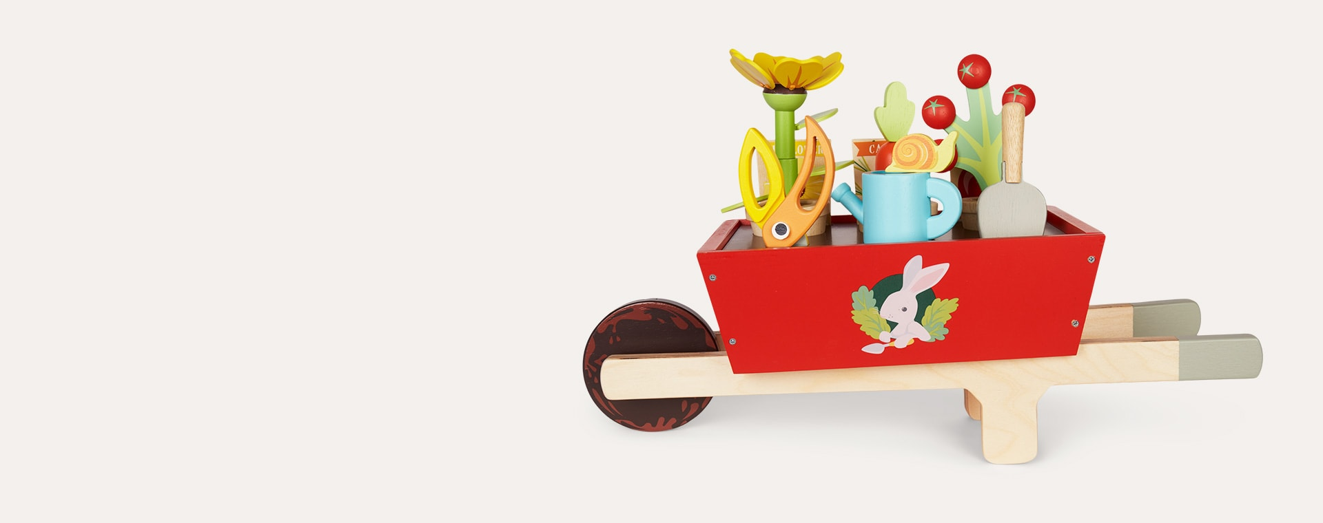 Red Tender Leaf Toys Garden Wheelbarrow Set
