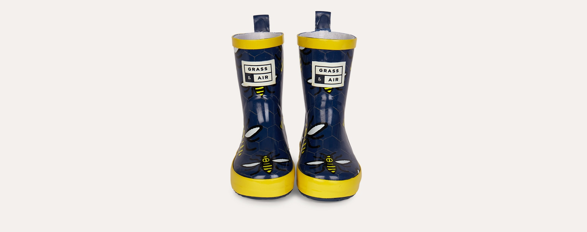 Navy Grass & Air Bee Wellies