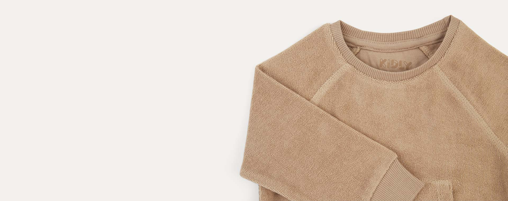 Natural KIDLY Label Towelling Sweatshirt
