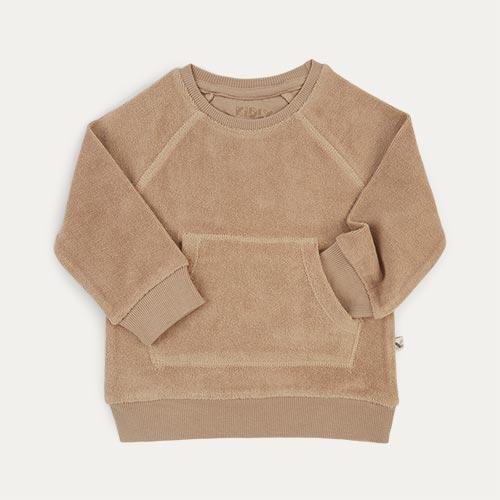 Natural KIDLY Label Towelling Sweatshirt