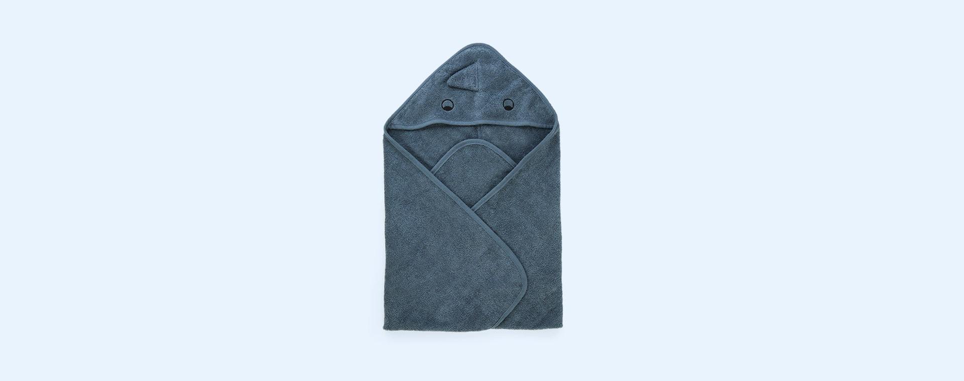Dino Whale Blue Liewood Albert Hooded Towel
