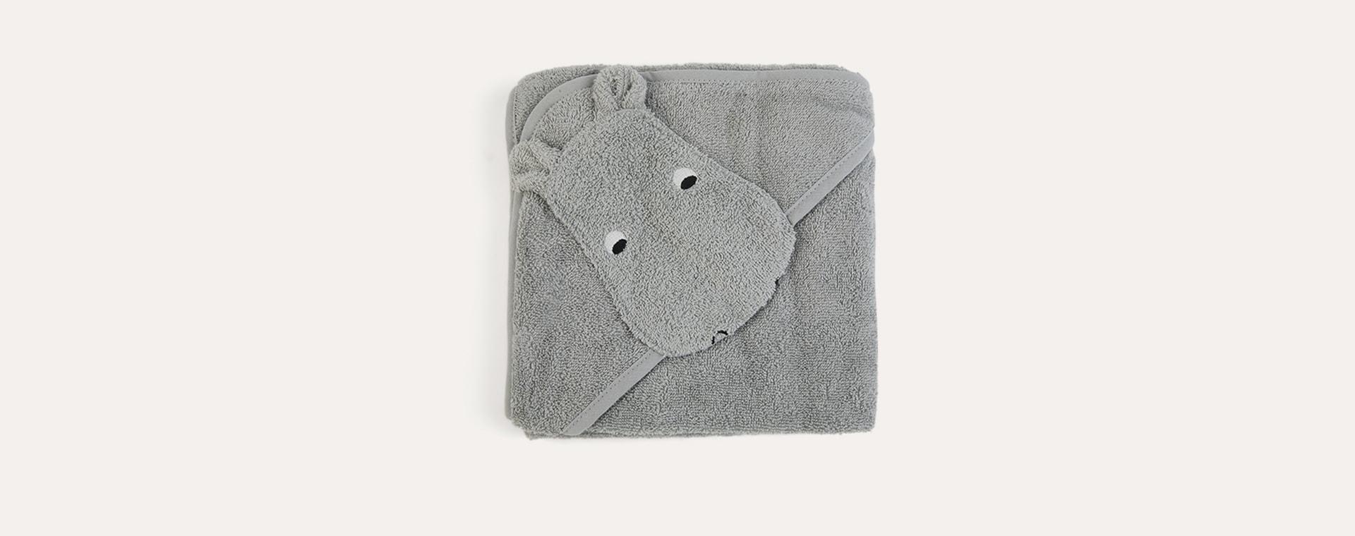 Hippo Dove Blue Liewood Albert Hooded Towel